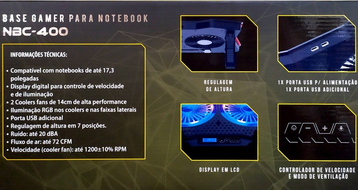 Base Refrigerada Com 2 Coolers e LEDs Para Notebook Gamer com Painel LCD