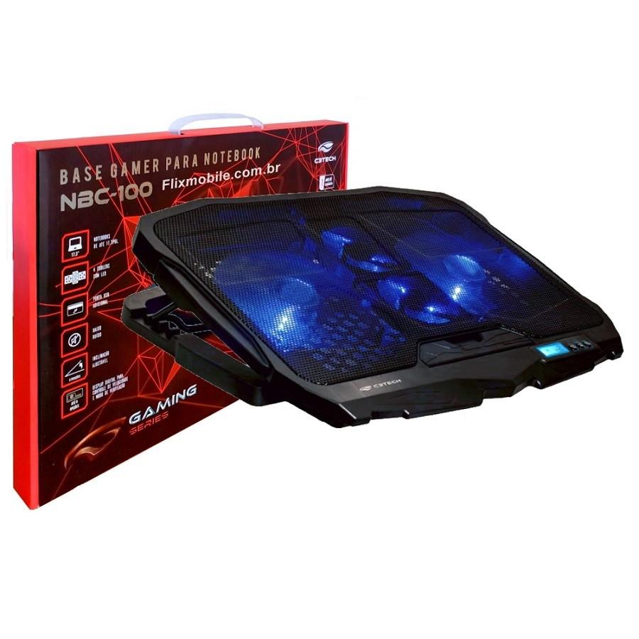Base Refrigerar Notebook e Vídeo Game Silenciosa 4 Coolers e Controle de Velocidade