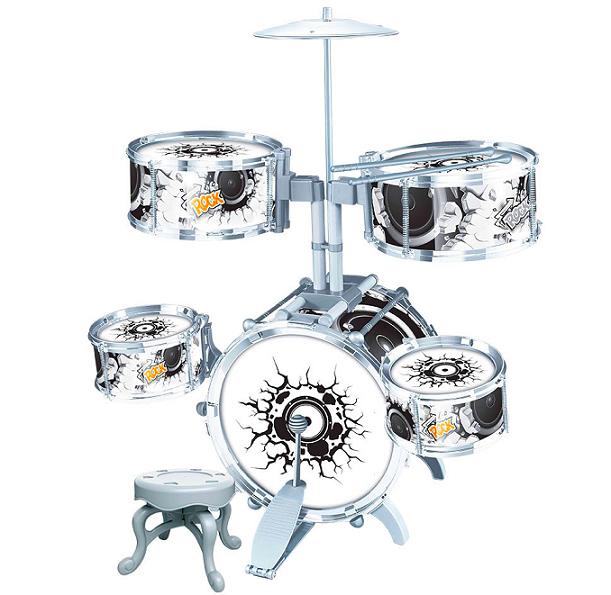 Bateria Infantil Musical Com Pedal Rock Party 67cm - Dm Toys