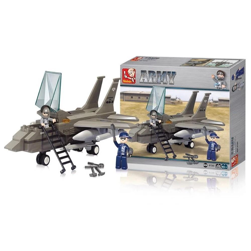 Blocos de Montar Playset de Avião Militar com Bonecos 142 peças