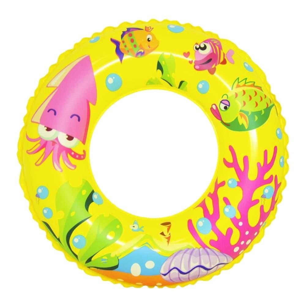 Boia Circular Inflável Infantil de Peixinhos 55cm Amarela