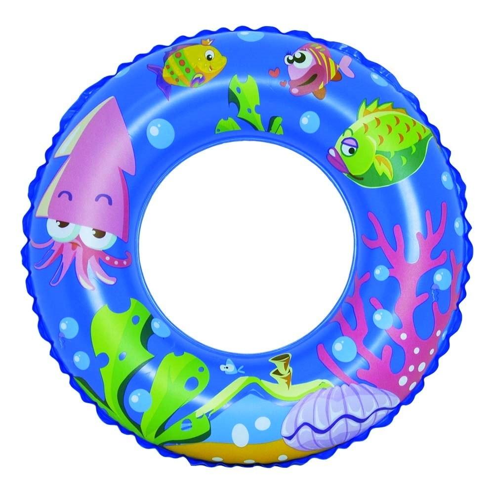 Boia Circular Inflável Infantil de Peixinhos 55Cm - Azul
