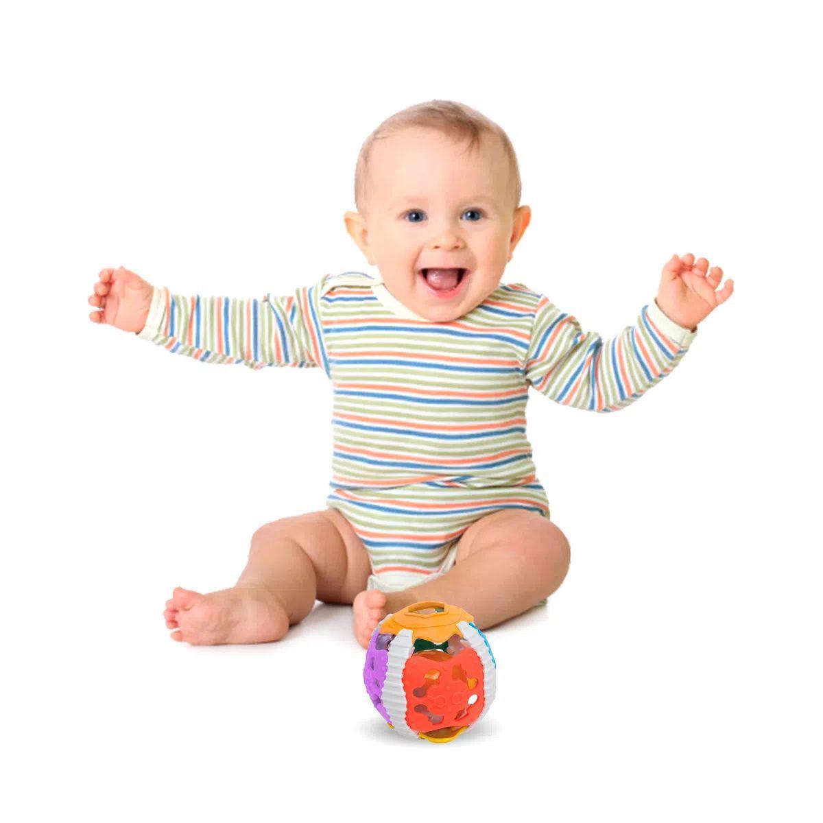 Bola Colorida para Bebês com Luz Som e Texturas Baby Boll
