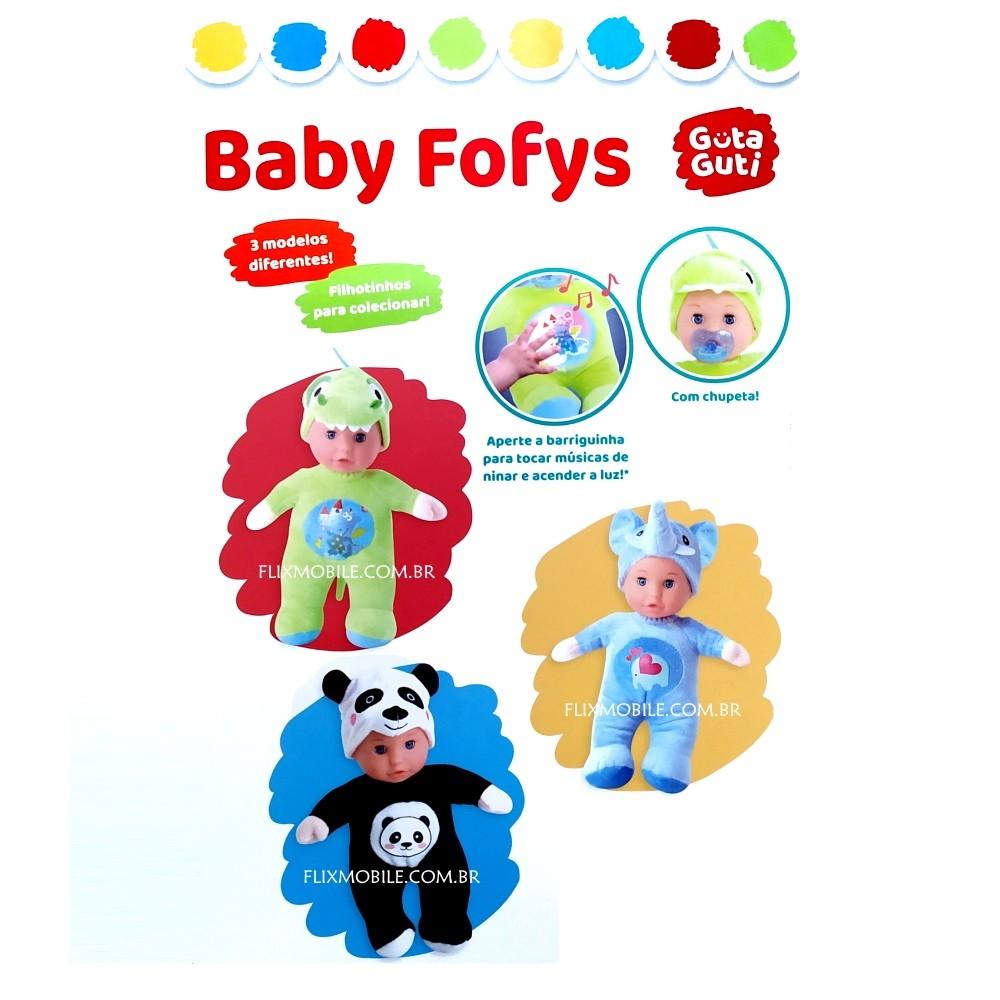 Boneca Grande Baby Fofys Macia com Música Suave e Chupeta - Panda