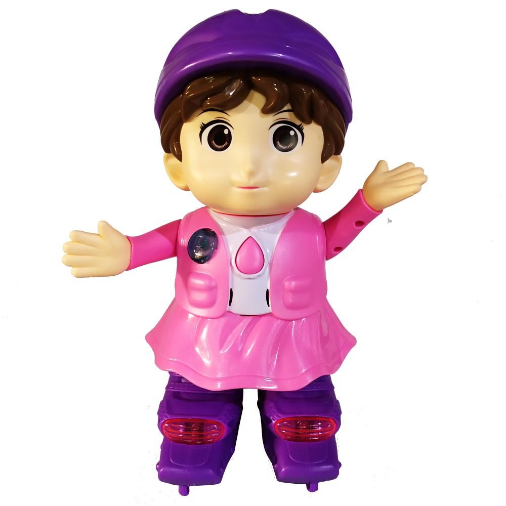 Boneca patinadora com Luzes e sons Menina no Patins Musical Rosa
