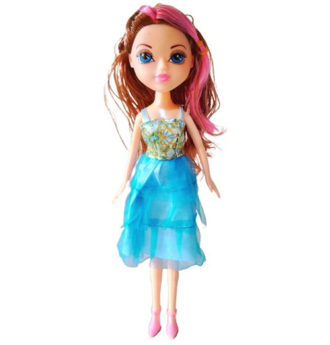 Boneca Princesa  Pretty Fashion Girl com Vestido Azul e Acessórios