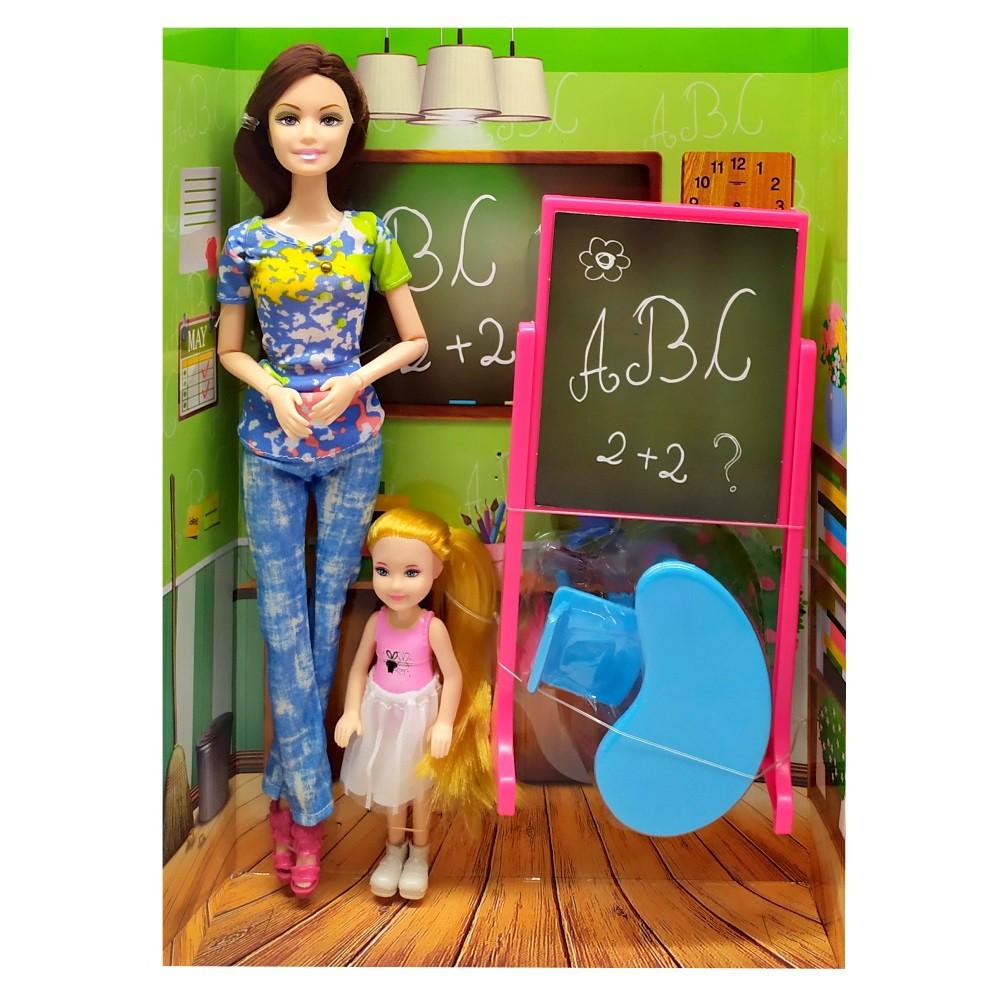 Boneca Professora e Aluna com Lousa Mesa Cadeira Kit com 5 peças