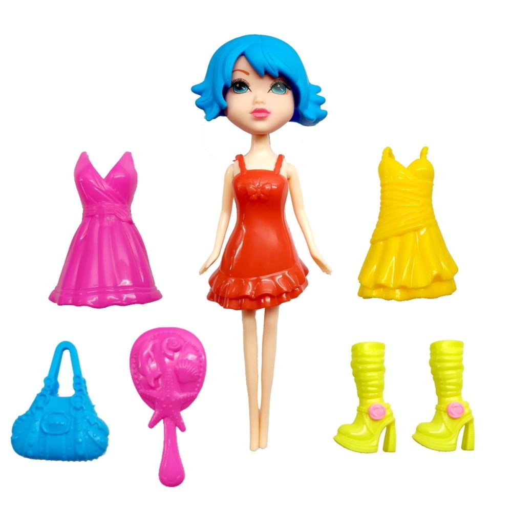 Boneca Troca Roupa Fashion Girl com 3 Vestidos e Escova Botas e Cabelo