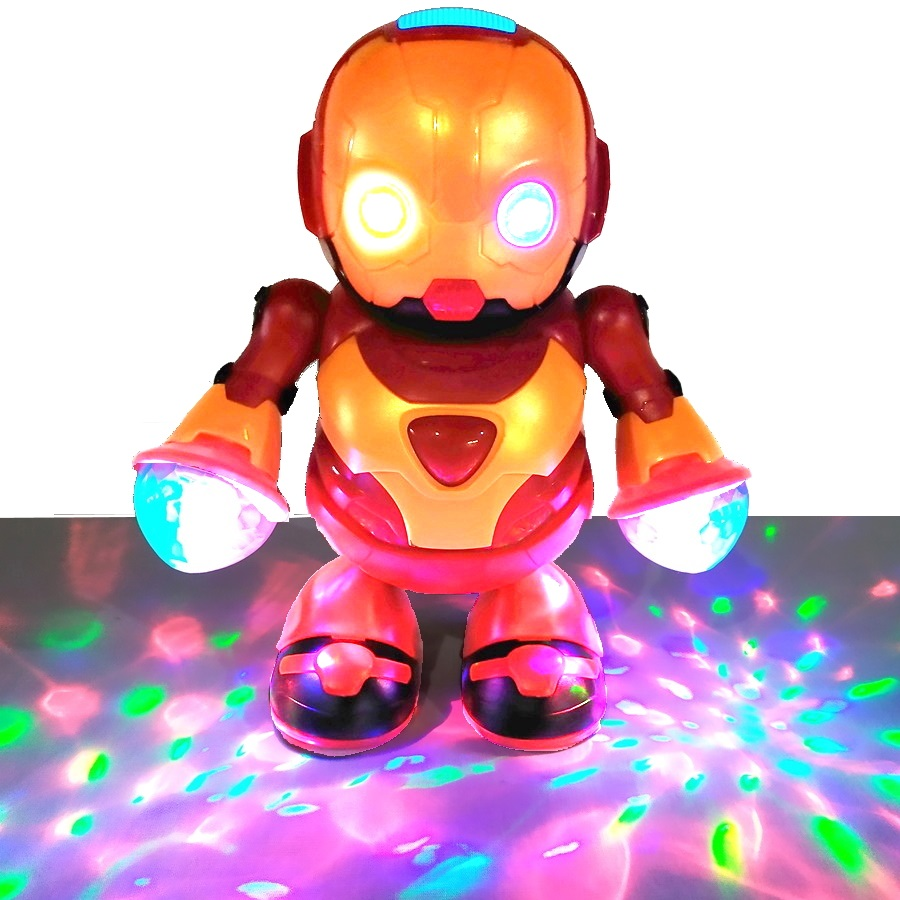 Boneco Robô Herói que Dança + Copo Iron Man Homem de Ferro