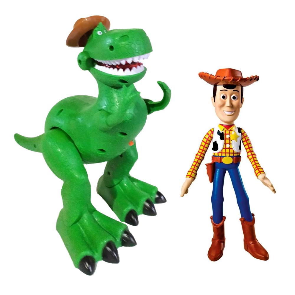 Boneco Woody Toy Story com Dino Rex que Anda