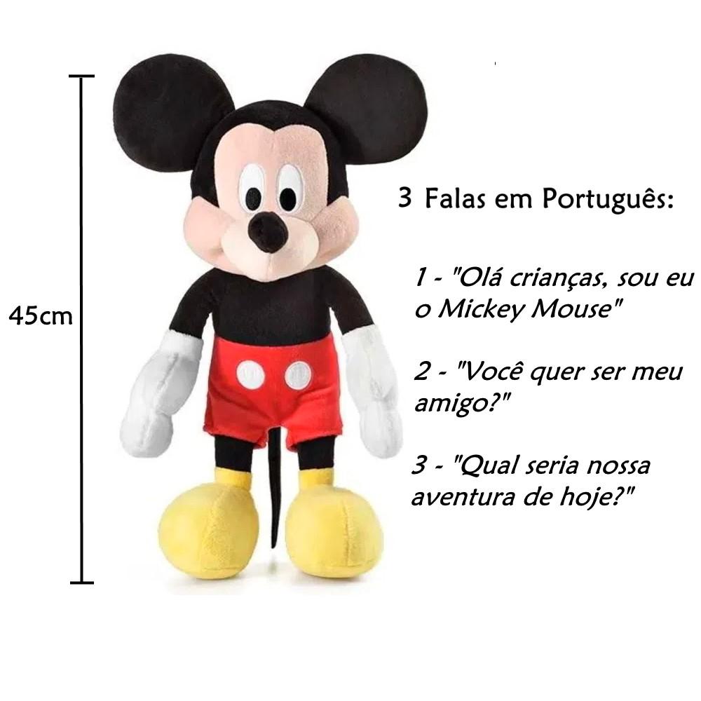 Bonecos de Pelúcia Minnie e Mickey Mouse Falas em Português + Copos com Orelhas