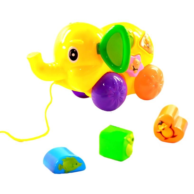 Brinquedo Bebê Elefantinho de Puxar com Peças de Encaixar Educativo