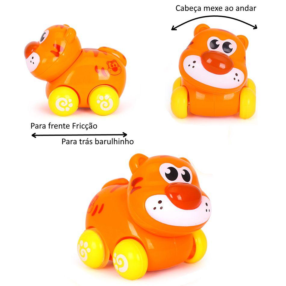 Brinquedo Carrinho Infantil Bebê Estimulante Turminha Animal Tigre