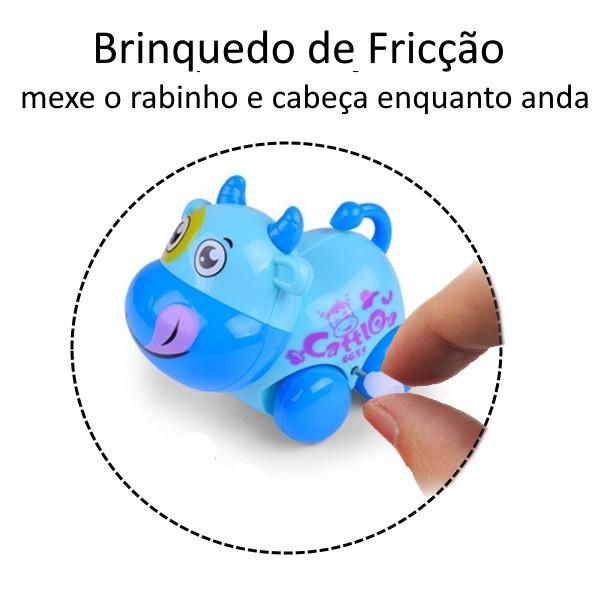 Brinquedo Carrinho Infantil Bebê Estimulante Turminha Animal Vaquinha Azul