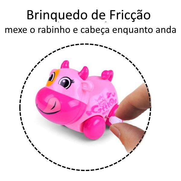 Brinquedo Carrinho Infantil Bebê Estimulante Turminha Animal Vaquinha Rosa