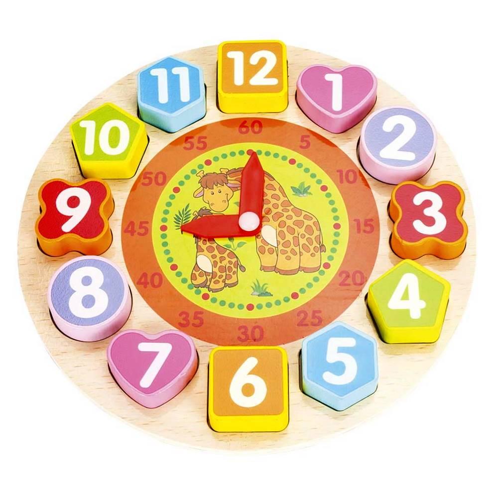 Brinquedo Didático Aprenda Brincando Relógio de Encaixar Peças Girafa