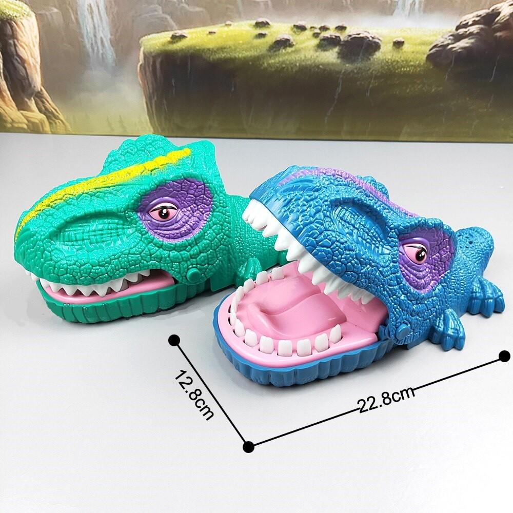 Brinquedo Dinossauro Maluco que Morde Jogo Aperta os Dentes com Som e Luz Azul