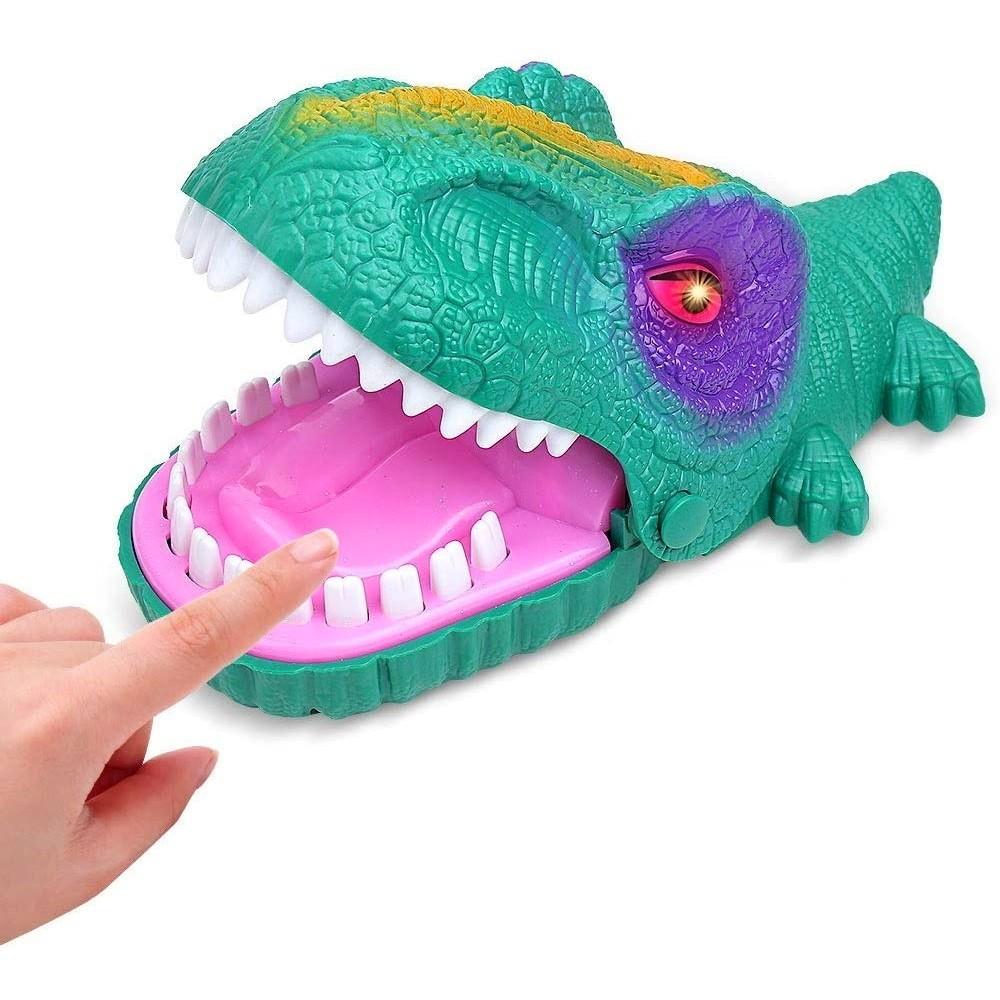 Brinquedo Dinossauro Maluco que Morde Jogo Aperta os Dentes com Som e Luz Verde