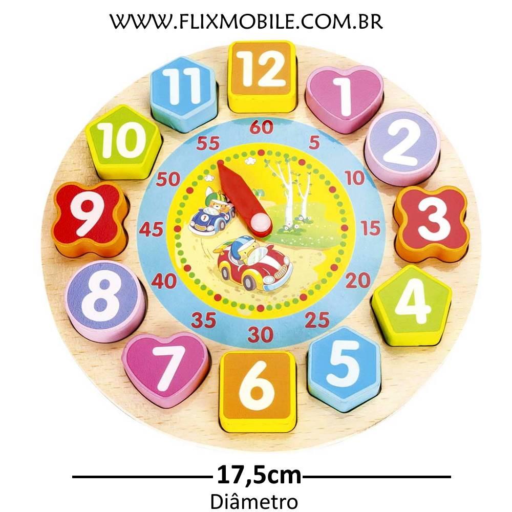 Brinquedo Educativo de Encaixar Peças Relógio Divertido Madeira Carrinho
