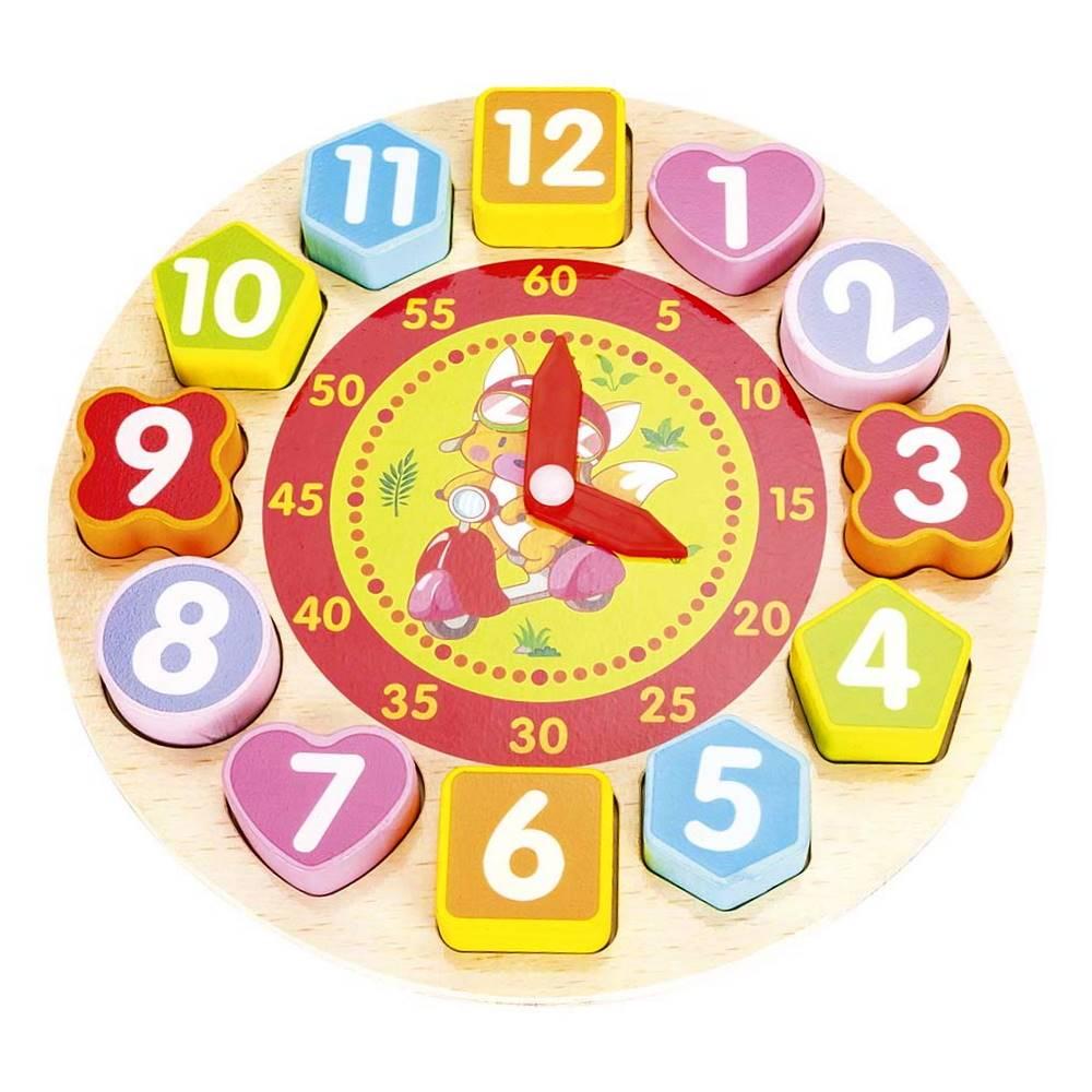 Brinquedo Educativo de Encaixar Peças Relógio Divertido Madeira Ursinho