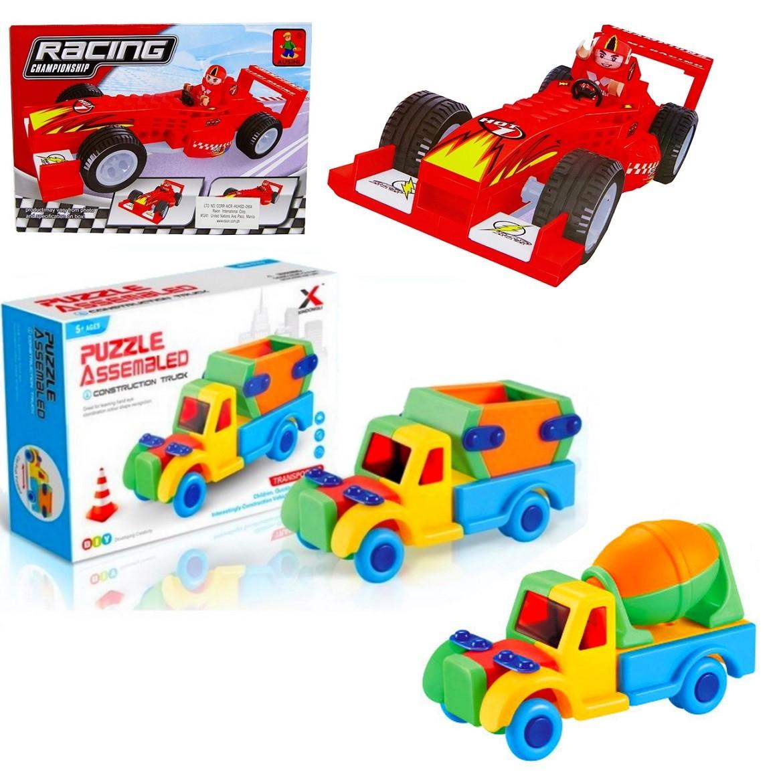 Brinquedo Educativo de Montar 2 Caminhões e Carro Formula 1 Blocos com 88 peças