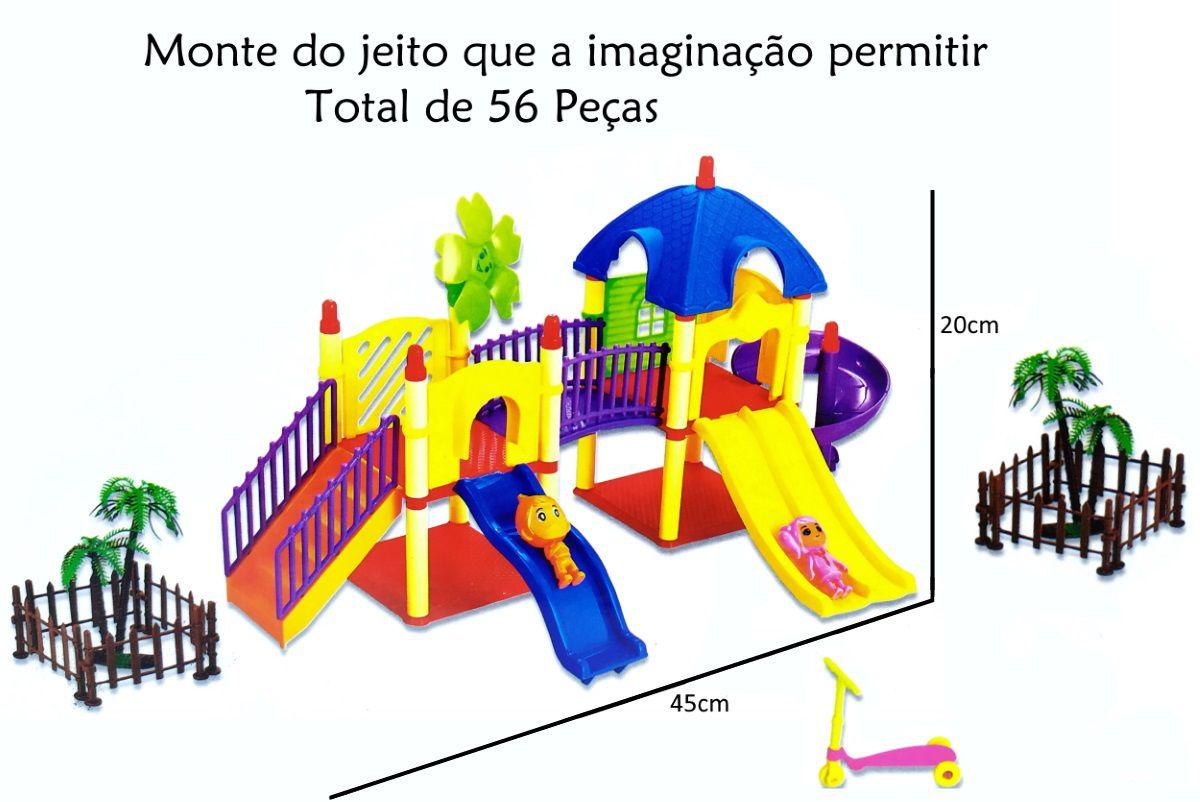 Brinquedo Educativo de montar Casinha Playground com 56 Peças