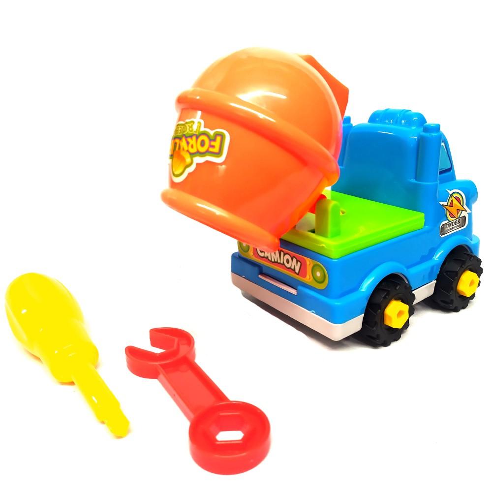Brinquedo Educativo Infantil Caminhão Betoneira Monta e Desmonta com chave