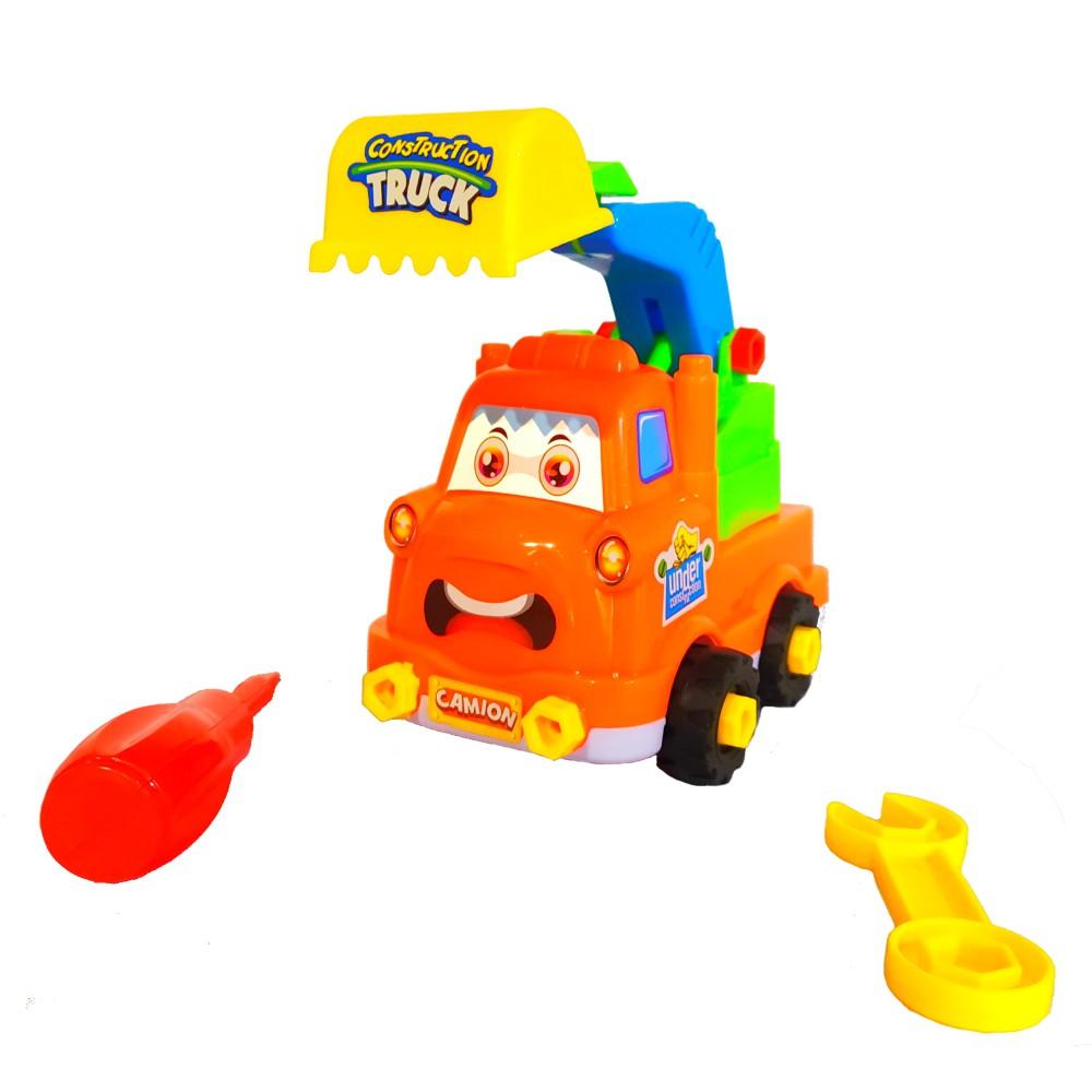 Brinquedo Educativo Infantil Caminhão Escavadeira Monta e Desmonta com chave