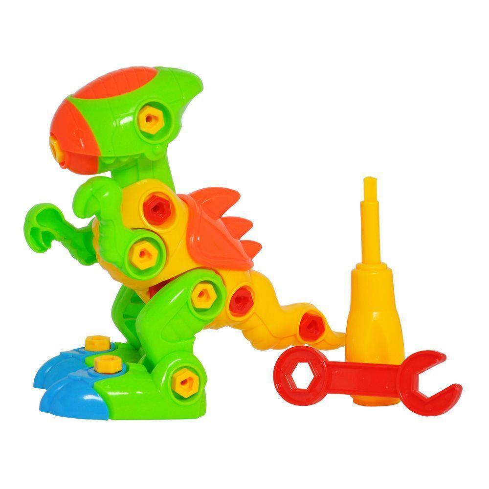 Brinquedo Educativo Infantil Dino Rex Monta e Desmonta com Chavinha
