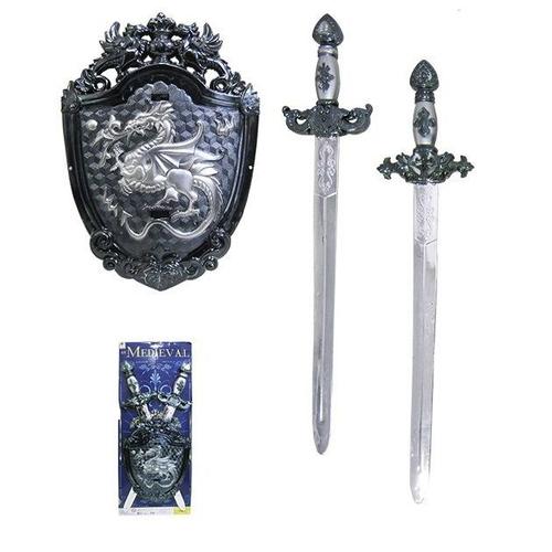 Brinquedo / Fantasia Kit Medieval Com 2 Espadas E 1 Escudo