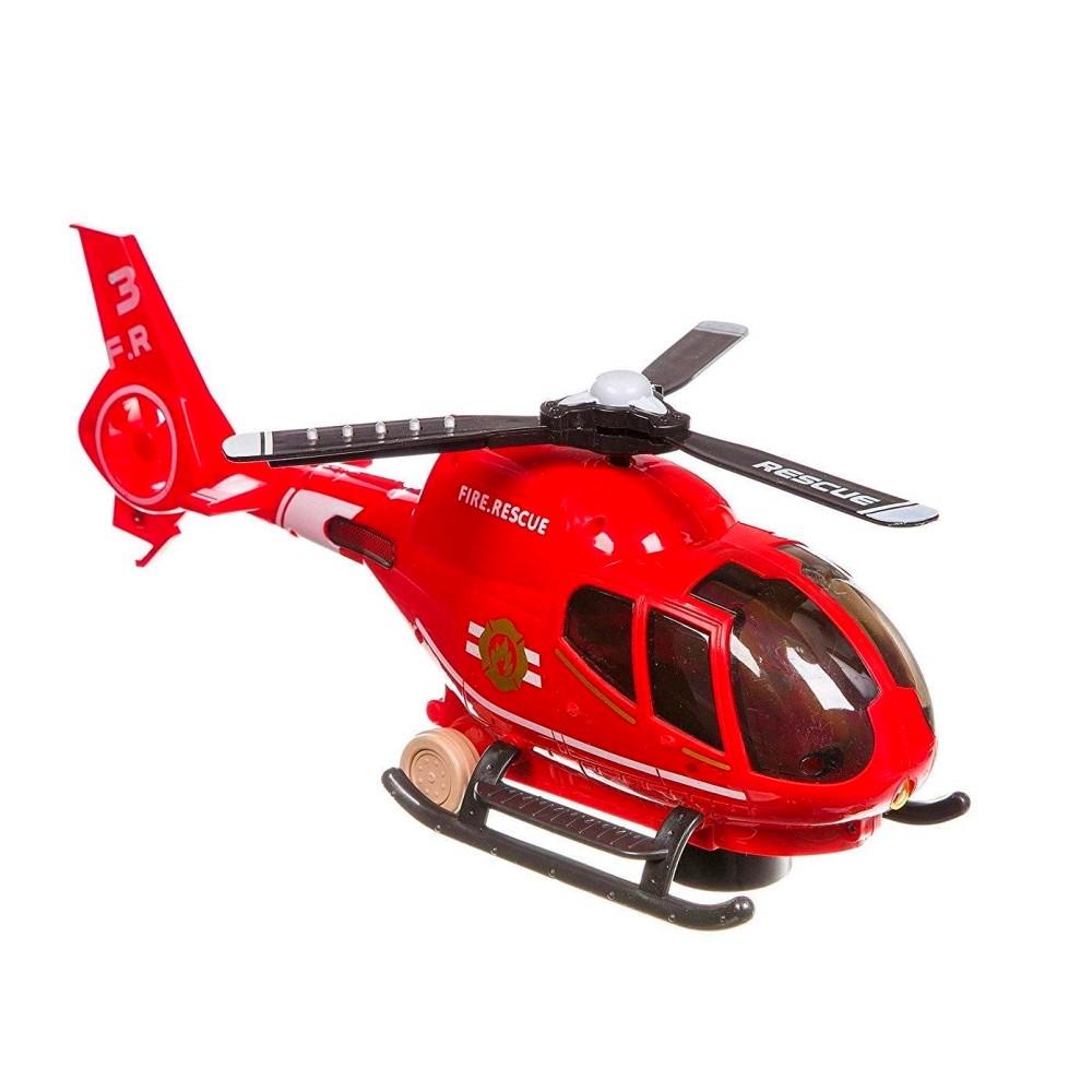 Brinquedo Helicóptero Resgate Eletrônico Bate Volta Luz Som