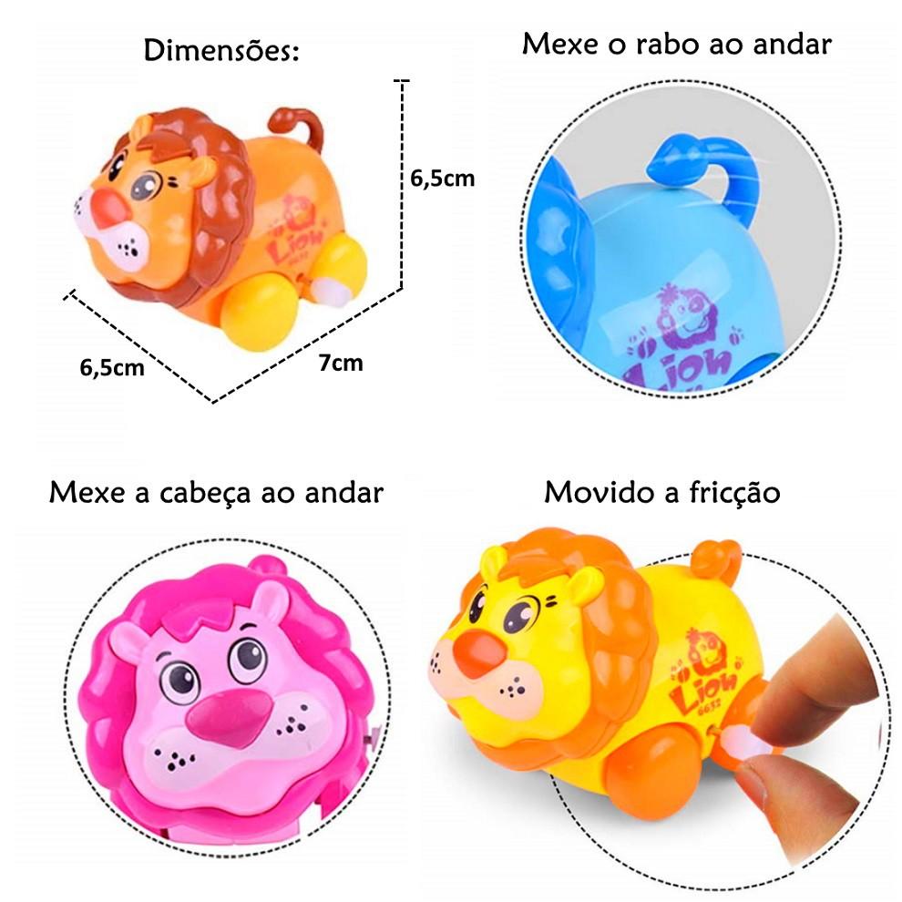 Brinquedo Infantil Baby Estimulante Turminha Animal Vaquinha e Leão - Kit com 4