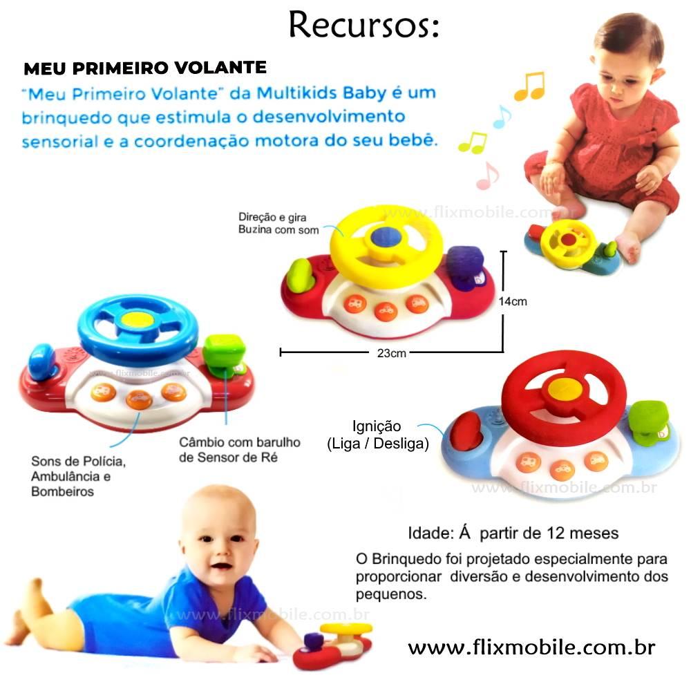 Brinquedo Infantil Bebê meu Primeiro Volante Interativo com Sons +12 meses Vermelho