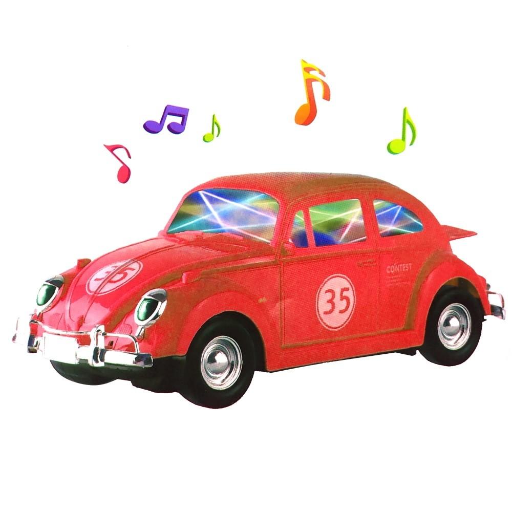 Brinquedo Infantil Carrinho Bate e Volta e Gira 360º Fusca com Som e Luz Vermelho
