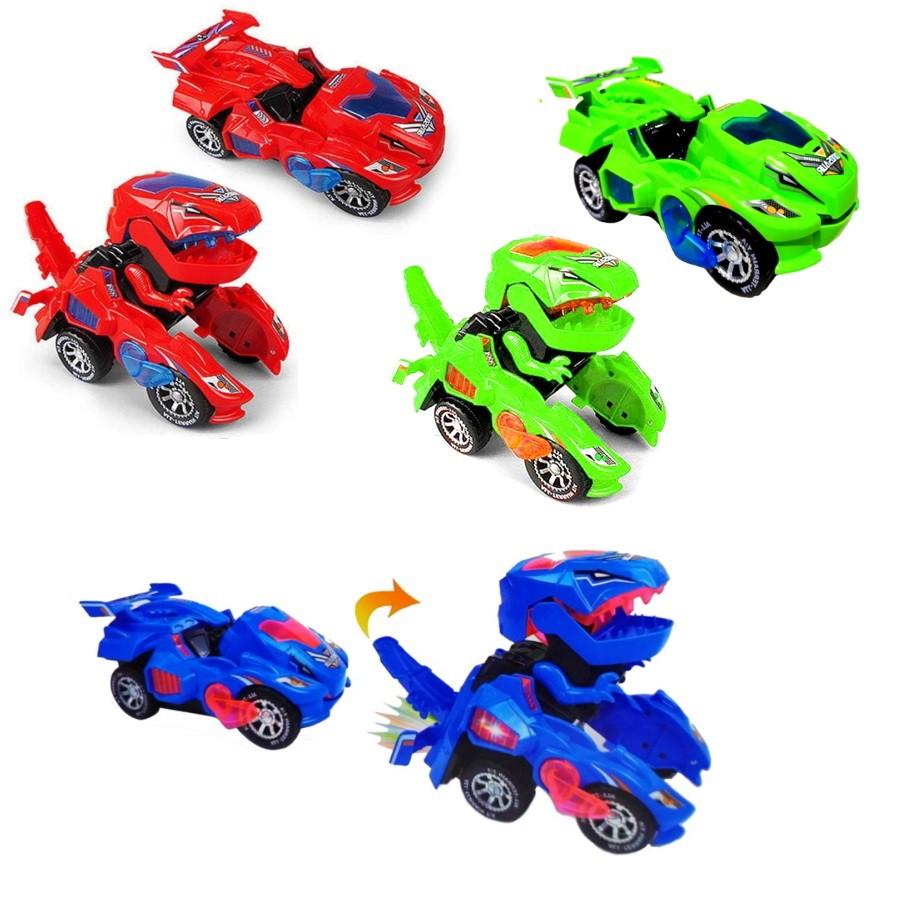 Brinquedo Infantil Carro que Vira Dinossauro com Música e Luzes Coloridas