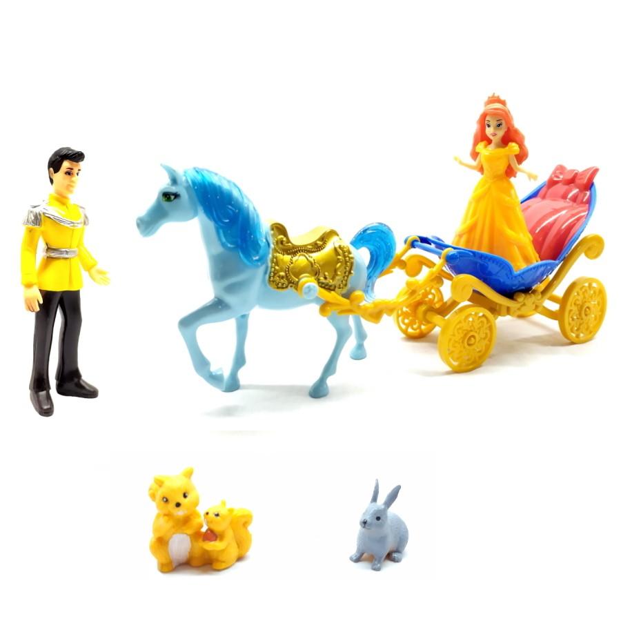 Brinquedo Infantil Carruagem Real com Príncipe e Princesa Encantados + Acessórios