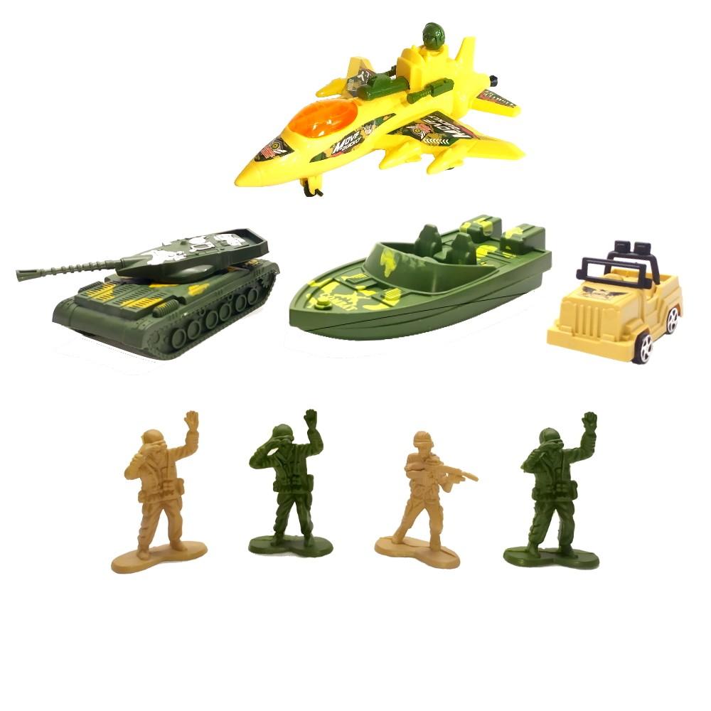 Brinquedo Infantil Coleção Militar com Avião Tanque Barco Soldados e Jipe - Kit 8 Peças