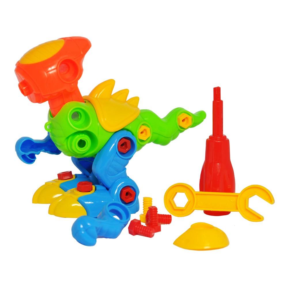Brinquedo Infantil de Montar Kit com Avião Dinossauro e Caminhão
