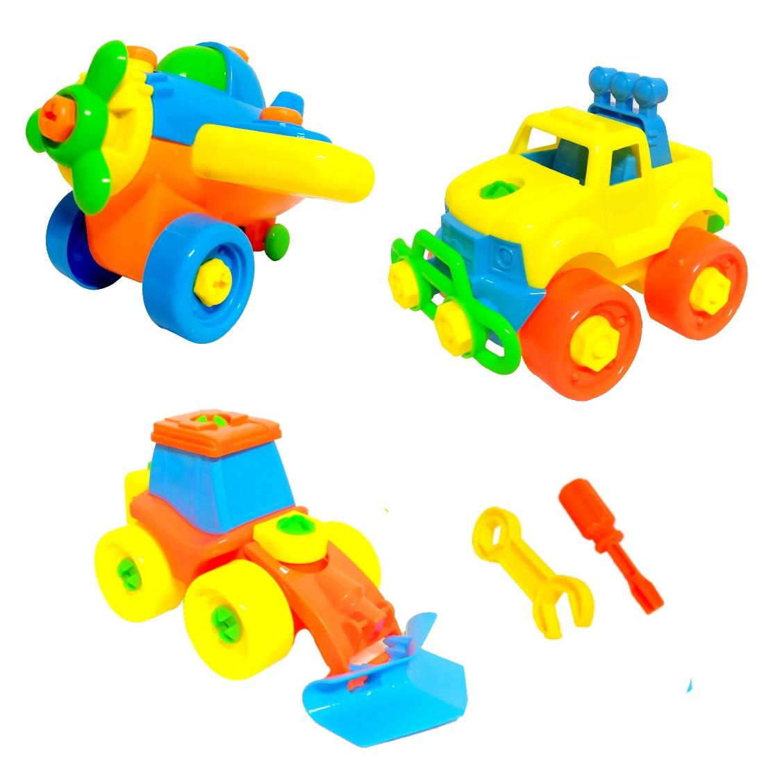 Brinquedo Infantil de Montar Kit com Avião Trator e Caminhão