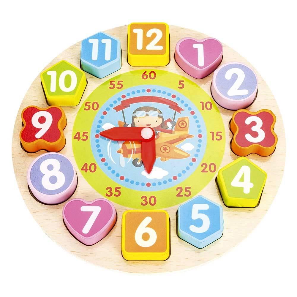 Brinquedo Infantil Estimulante Educativo em Madeira Relógio Madeira DmToys Avião