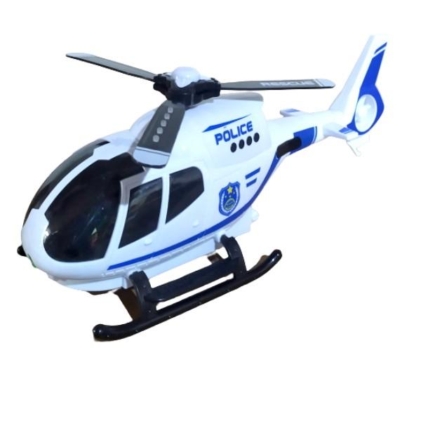 Brinquedo Infantil Helicóptero da Polícia Eletrônico Bate e Volta Luzes Sons