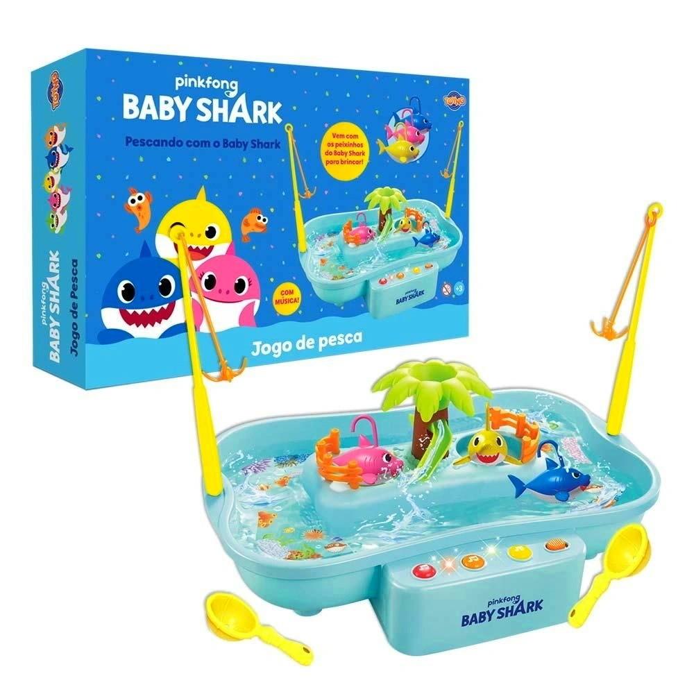 Brinquedo Infantil Jogo de Pescaria com a Música do Baby Shark e 6 Peixes
