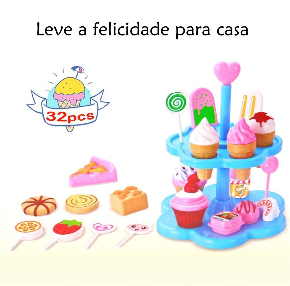 Brinquedo Infantil Meninas Playset de Sorvete e Doces para Decorar - 32 PÇs