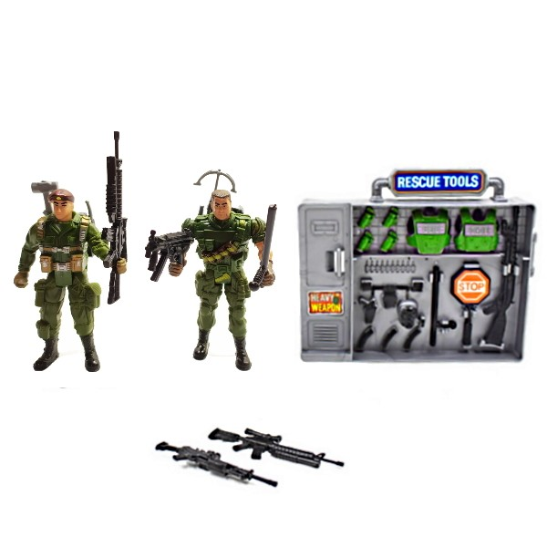 Brinquedo Infantil Playset Militar Soldados de Resgate com Avião Caça - 12 Peças