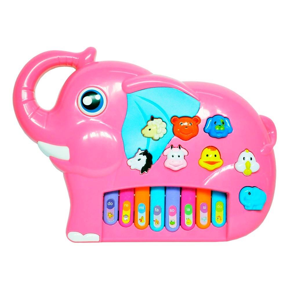 Brinquedo Musical infantil Piano Elefantinho com Sons Luz e Alça Rosa