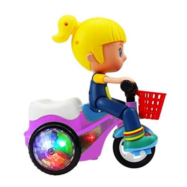 Brinquedo Musical Infantil Triciclo que Empina Gira 360 com Sons Luz Roxo