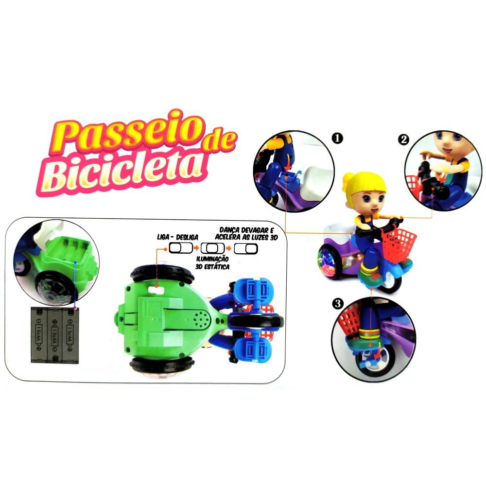 Brinquedo Musical Infantil Triciclo que Empina Gira 360 com Sons Luz Verde