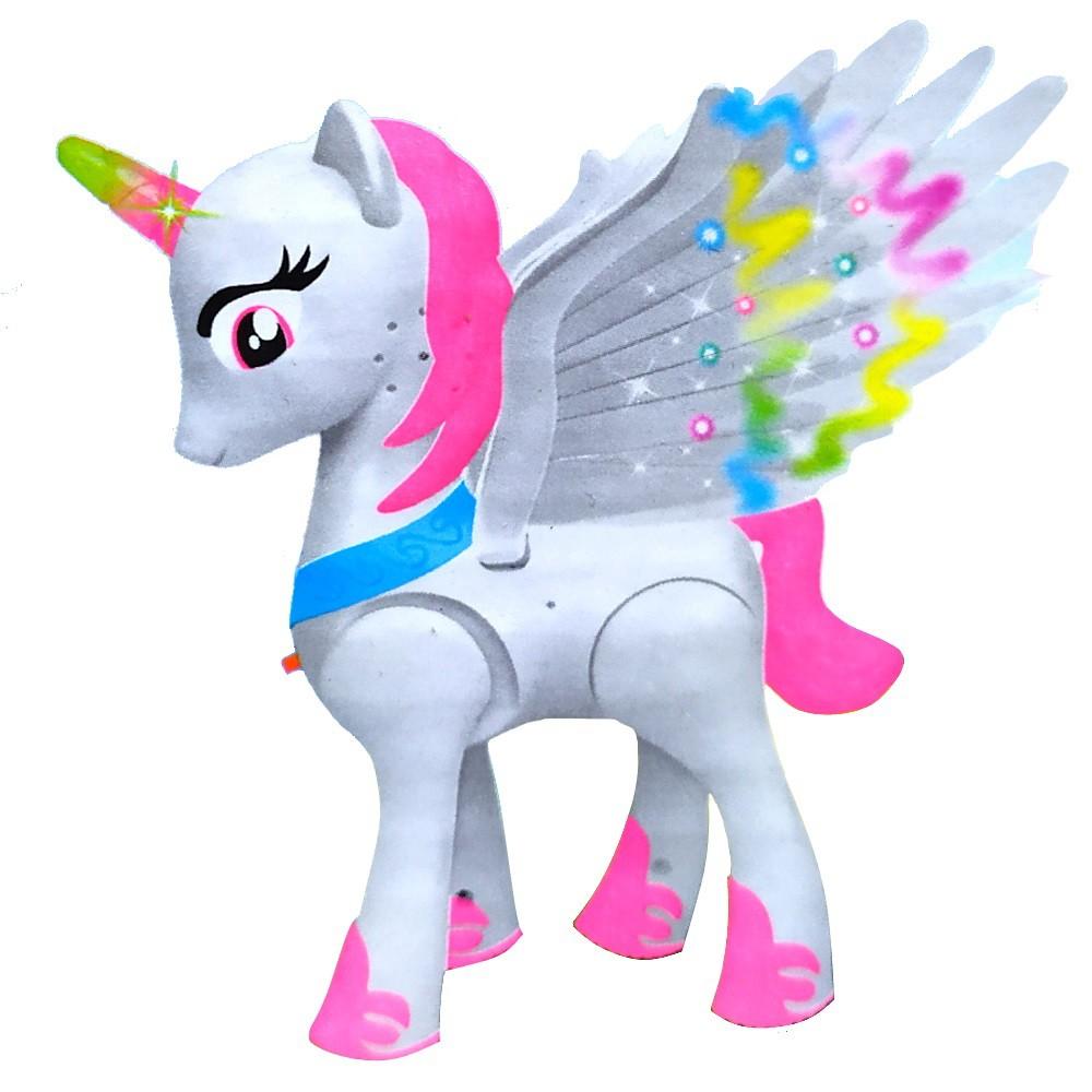 Brinquedo Musical Meninas Pequeno Poney com Asas e Luzes que Anda