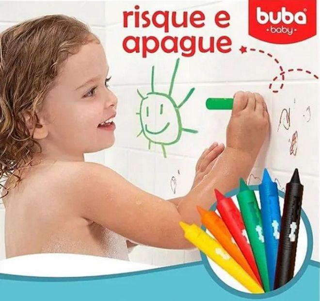 Brinquedo para banho Giz risque e apague com esponja da Buba