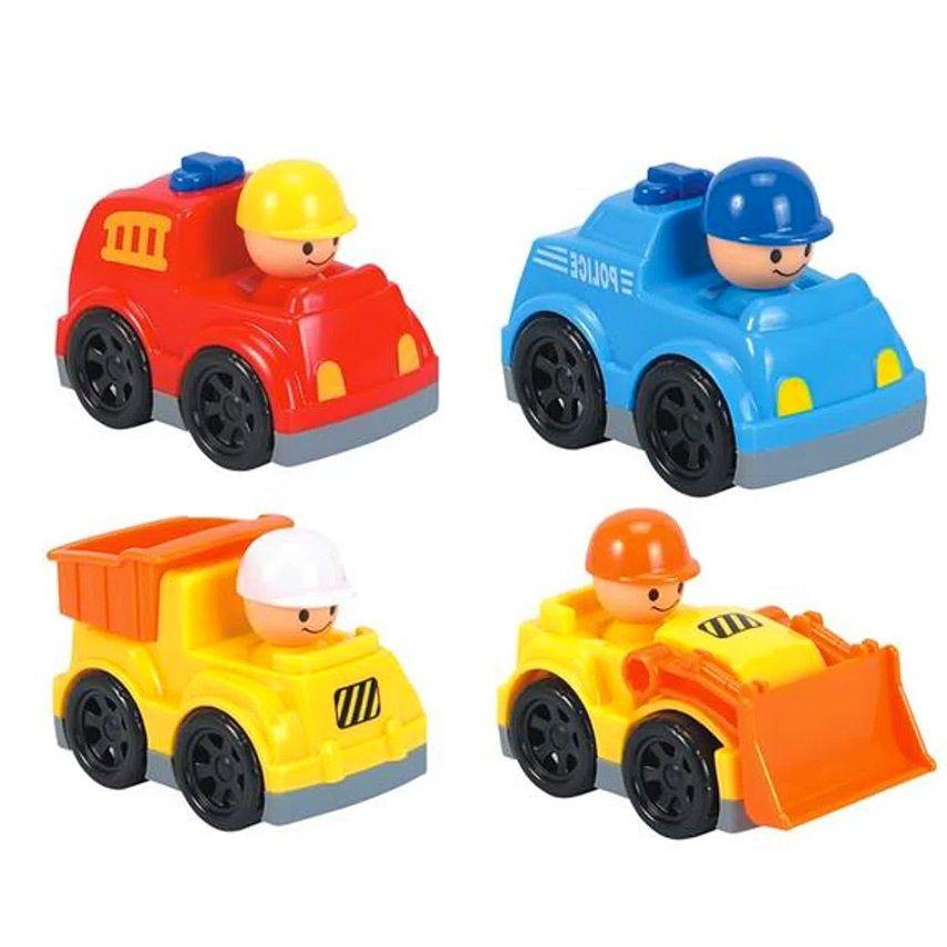 Brinquedo para Bebê Coleção Carrinhos Divertidos Policia Bombeiro e Construção